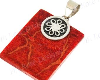 "1 9/16"" Square Genuine Red Coral Bali 925 Sterling Silver Pendant"