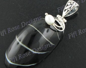 "Sale! 1 15/16"" Black Nautilus Shell Freshwater Pearl 925 Sterling Silver Pendant"