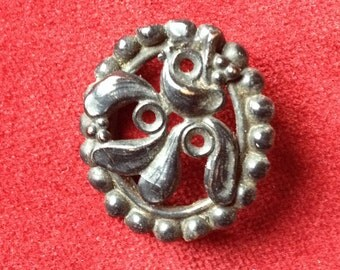Black floral antique french mistletoe mourning brooch