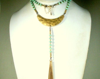 Long Gold and SeaFoam Green Tassel Necklace, Pretty Color Metro Tribal Lightweight Glass and Matte Gold Bib w Beads and Metal Fringes