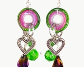 Crystal Drop Earrings in Pink and Green, Handmade Lampwork Glass Jewelry