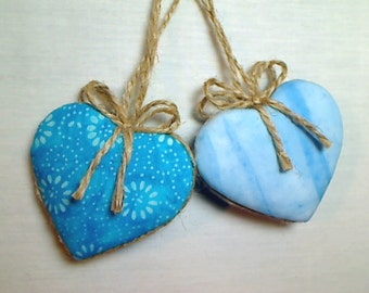 Turquoise/Blue Batik Heart Ornaments | Holidays | Party Favors | Wedding/Bridal | Tree Ornament | Valentines Day | Set/2 | Handmade |  #3