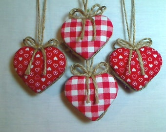 Miniature Red Heart Ornaments | Valentine's Day | Holidays | Party Favors | Birthday | Tree Ornament | Handmade Ornament | Set/4,  #1