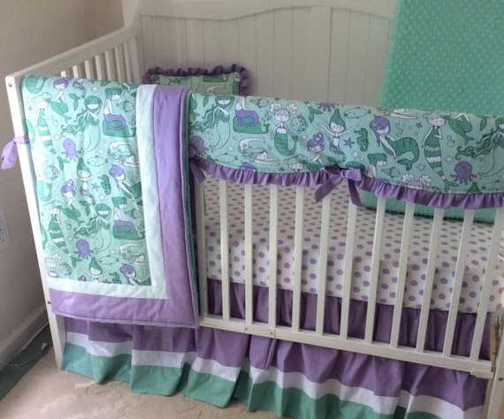 mermaid baby girl crib bedding in lavender and mint made to. Black Bedroom Furniture Sets. Home Design Ideas