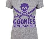 Goonies Never Say Die  - Grey - Screen Printed - V-Neck Ladies Fitted Tee