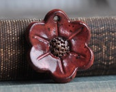 Red Flower Ceramic Pendant, in Dark Rusty Paprika glaze, stoneware clay pendant, focal bead