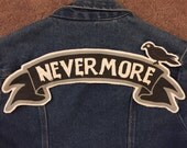 Nevermore Banner Style large back patch Edgar Allan Poe the raven literature author gothic horror