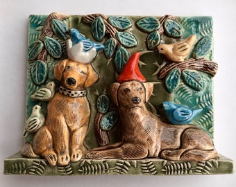 Wall Decor, Tile Wall Art, Ceramic tile, Tile Art,Wall Tile, Wall Hanging, Wall Sculpture