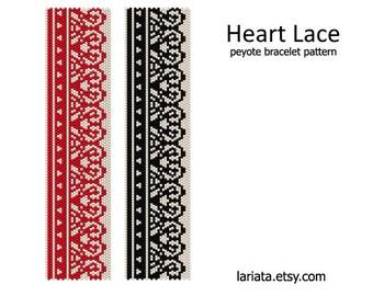 Heart Lace - Peyote Bracelet Pattern - INSTANT DOWNLOAD