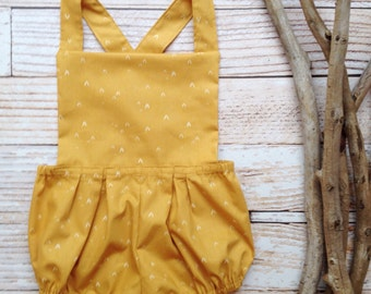 Boho baby clothes girls mustard yellow romper bloomers suspenders overalls little girl clothes photo shoot outfit girl outfit boho vintage