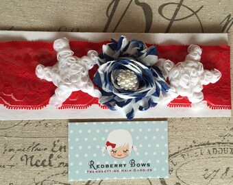 PATRIOTIC HEADBAND on Stretch Lace…Fourth of July…Red White and Blue