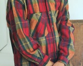 Muskoka Lakes Canadian Made Plaid Tartan Wool Flannel chamois Long Sleeve Shirt great shape orange green red check cabin cottage lumberjack