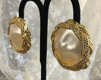 Very Large Faux Baroque Pearl and Goldtone Braided Edge Clip On Earrings
