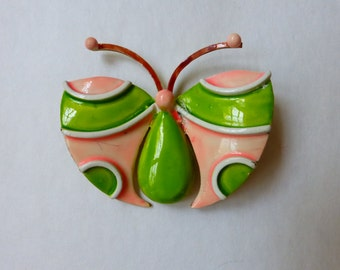 1960s MOD Enamel Butterfly Pin Brooch Washed Neon Green & Pink Original by Robert