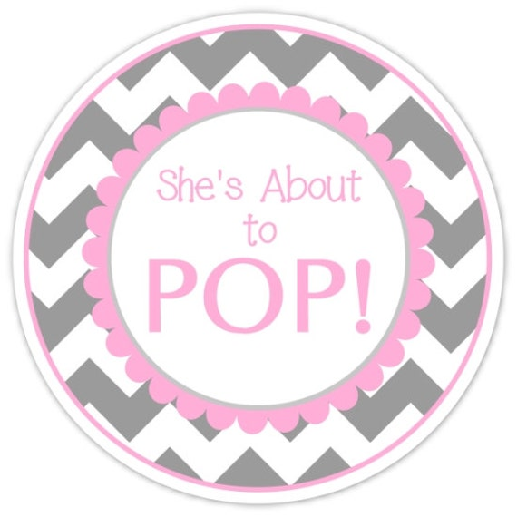 36 baby shower about to pop labels gray and hot pink chevron for About to pop labels