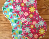 2 Flannel Burp Cloths with Chenille Back for Baby Girl, Bright, ready to ship