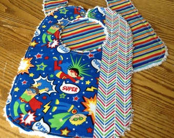 Set of 2 Baby Boy Bibs, Super Heros and Stripes Chenille Back, Snap Closure