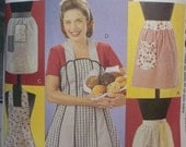 McCall's Retro Apron Sewing Pattern 3979 Vintage Full and Half Apron Styles Scalloped Hem Pockets, Bib Apron Size 8 - 22 CUT to Size 18 or L