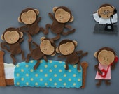 Five Little Monkeys Felt Set (jumping on BED & hanging on TREE)