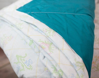 Quilt - Girls Quilt - Twin Quilt - Turquoise and Floral Print - Blanket - Simple Blanket