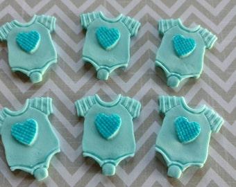Fondant Baby Onsies-Edible Onsies-Fondant Baby Shower-Baby Shower-Fondant Baby Cupcake Toppers-Fondant Baby Shower Toppers