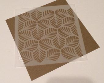 Square 5 inch stencil - Scallop / leaf pattern