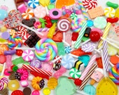 Fake Candy Cabochons - Candy & Sweets Super Mix Resin Flatback Cabochons and Pendants - For Decoden + Jewelry, and Accessories - 100 pcs