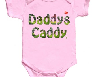 Daddys Caddy Fun Golf Baby Romper Girl Tee's Pink Tshirt NewBorn Rompers to Kids Tees Fathers Day Gift