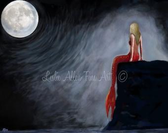 """Mermaid Art Print Mermaid Red Coral  Print Blonde  Mermaids Painting Print Moon Decor Wall Art """"MERMAID MOON MAGIC"""" Leslie Allen Fine Art"""