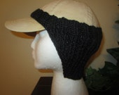 Practical Warm Black Hand Knit Baseball Cap Ear Warmers