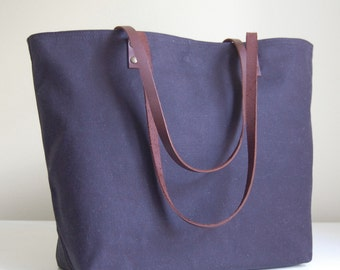 Black Waxed Canvas Medium Tote Bag with Leather Straps - Ready to Ship