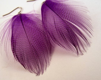 purple Feather earrings mallard