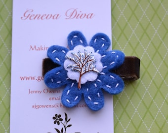 Blue Fall Leaves Felt Flower Hairclip