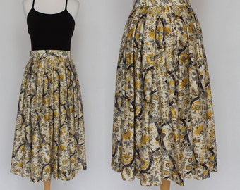 50's Pleated Midi Skirt / Challis Floral Print / Medium