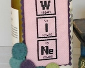 WINE Nerdy Words Cross Stitched Wine Bottle Hang Tag