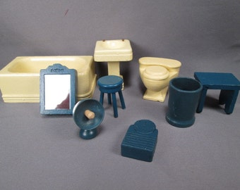 Vintage Miniature Dollhouse 9 Piece Bathroom Furniture by Strombecker - 3/4 Scale