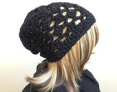 Midnight Sparkle Slouchy Tam - Crocheted in Slightly Sparkly Black Acrylic Blend Yarn - Women Girl Teen - Unique Stitch Pattern - Ready2Ship