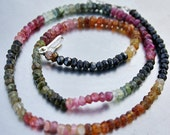 """Pink Green Amber Multicolor Gem Watermelon Tourmaline 4.4-4.6mm Faceted Rondelle Beads Extra LONG 17 1/2"""" strand 78ct weight"""