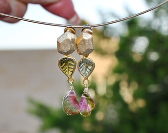 Gem Watermelon Pink Green Tourmaline Smooth Briolette Slice Carved Leaf Faceted Brushed Gold Rock Dangle Stud Earrings