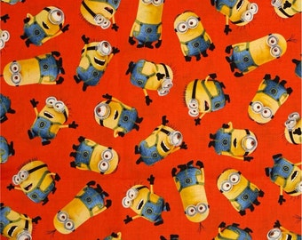 Minions on Orange Fabric (by the yard)