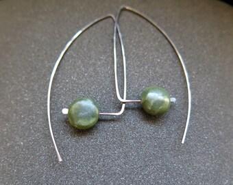 Canadian jade earrings. hypoallergenic niobium jewelry. geometric hoops. splurge
