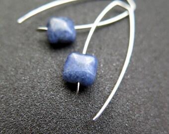 blue earrings. sodalite jewelry sterling silver. Canadian seller.