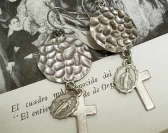 Rosary medal and cross earrings - Religious earrings - Assemblage - One of a Kind - bycat