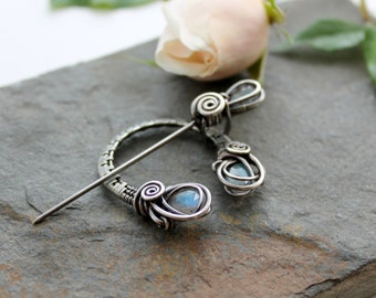 Penannular Brooch - Woven Sterling silver and faceted Labradorite - Sterling silver brooch - Celtic brooch