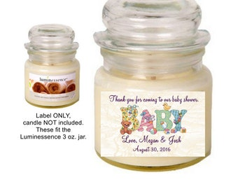 18 Personalized Baby Shower  Jar Candle Labels