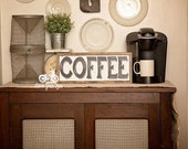 "COFFEE Hand Painted Sign, Wooden With Trim, 18""x7"" Vintage Inspired, Blogger, Gallery Wall, Kitchen, Coffee Bar"