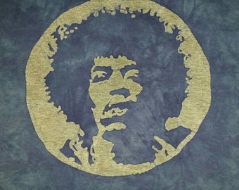 Jimi Hendrix Tee Shirt Batik Tee Shirt Rock and Roll READY TO SHIP