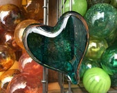 Deep Teal Glass Heart wit...
