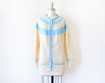 60s cardigan, 1960s vintage cream and aqua cardigan, hand knit wool sweater, large