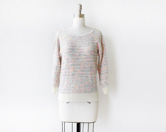 vintage rainbow sweater, 70s white rainbow knit pullover, small pullover top